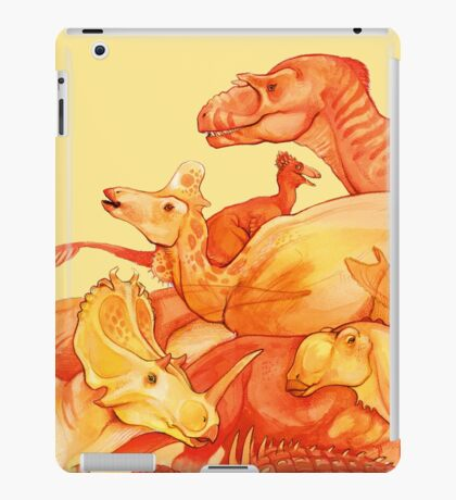 cretaceous congregation - orange & yellow dinosaurs iPad Case/Skin