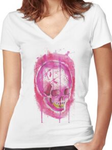 PINK WATER COLOR SKULL Women's Fitted V-Neck T-Shirt