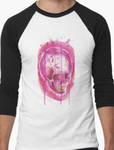 PINK WATER COLOR SKULL Men's Baseball ¾ T-Shirt