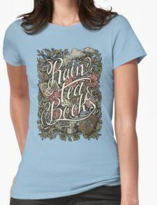 Rain, Tea & Books - Color version Womens Fitted T-Shirt