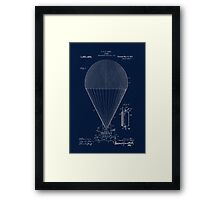 Antique Edwardian age airship blueprint patent drawing, Steampunk Framed Print