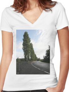 Cyprus Trees Descending Derry Ireland Women's Fitted V-Neck T-Shirt