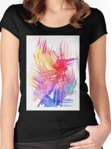 Watercolor abstract palm leaves Women's Fitted Scoop T-Shirt