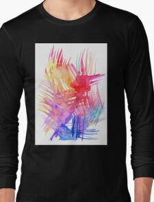 Watercolor abstract palm leaves Long Sleeve T-Shirt