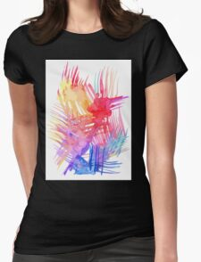 Watercolor abstract palm leaves Womens Fitted T-Shirt