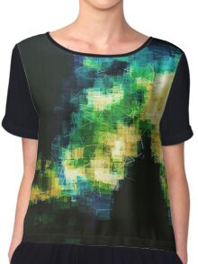 turquoise celadon daphodil pixelated abstraction Chiffon Top
