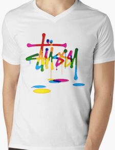 Stussy Colorful Logo Unique! Mens V-Neck T-Shirt