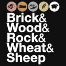 Helvetica Settlers of Catan: Brick, Wood, Rock, Wheat, Sheep | Board Game Geek Ampersand Design by BootsBoots