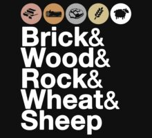 Helvetica Settlers of Catan: Brick, Wood, Rock, Wheat, Sheep | Board Game Geek Ampersand Design Kids Tee