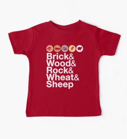 Helvetica Settlers of Catan: Brick, Wood, Rock, Wheat, Sheep | Board Game Geek Ampersand Design Baby Tee