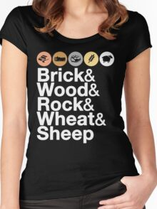 Helvetica Settlers of Catan: Brick, Wood, Rock, Wheat, Sheep | Board Game Geek Ampersand Design Women's Fitted Scoop T-Shirt