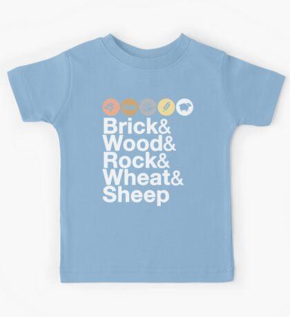 Helvetica Settlers of Catan: Brick, Wood, Rock, Wheat, Sheep   Board Game Geek Ampersand Design Kids Tee