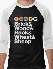 Helvetica Settlers of Catan: Brick, Wood, Rock, Wheat, Sheep | Board Game Geek Ampersand Design Men's Baseball ¾ T-Shirt