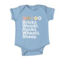 Helvetica Settlers of Catan: Brick, Wood, Rock, Wheat, Sheep | Board Game Geek Ampersand Design One Piece - Short Sleeve