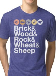 Helvetica Settlers of Catan: Brick, Wood, Rock, Wheat, Sheep | Board Game Geek Ampersand Design Tri-blend T-Shirt