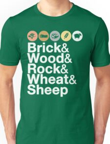 Helvetica Settlers of Catan: Brick, Wood, Rock, Wheat, Sheep   Board Game Geek Ampersand Design Unisex T-Shirt