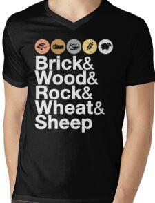 Helvetica Settlers of Catan: Brick, Wood, Rock, Wheat, Sheep | Board Game Geek Ampersand Design Mens V-Neck T-Shirt