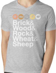 Helvetica Settlers of Catan: Brick, Wood, Rock, Wheat, Sheep | Board Game Geek Ampersand Design Mens V-Neck T-Shirt