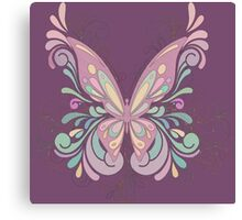 Colorful Ornately Designed Butterfly Graphic with flourishes Canvas Print