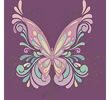 Colorful Ornately Designed Butterfly Graphic with flourishes Photographic Print