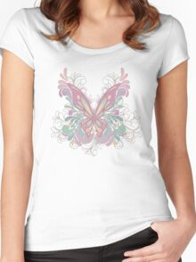 Colorful Ornately Designed Butterfly Graphic with flourishes Women's Fitted Scoop T-Shirt