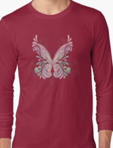 Colorful Ornately Designed Butterfly Graphic with flourishes Long Sleeve T-Shirt