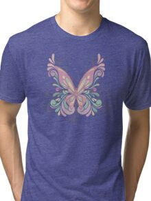 Colorful Ornately Designed Butterfly Graphic with flourishes Tri-blend T-Shirt