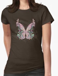 Colorful Ornately Designed Butterfly Graphic with flourishes Womens Fitted T-Shirt