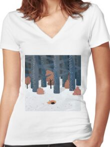 Asleep in the Woods Women's Fitted V-Neck T-Shirt