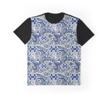 Blue Paisley Swirls Graphic T-Shirt
