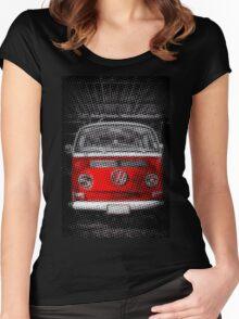 Red combi Volkswagen Half Tone Women's Fitted Scoop T-Shirt