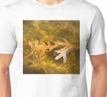 Liquid Gold Fall - Oak Leafs Floating in a Fountain Unisex T-Shirt