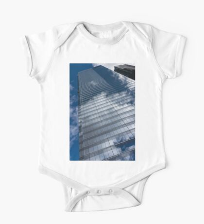 Reflected Sky - Skyscraper Geometry With Clouds - Left One Piece - Short Sleeve