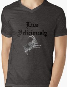 BLACK PHILLIP SAYS LIVE DELICIOUSLY Mens V-Neck T-Shirt