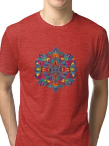 Caribbean inspired  watercolor mandala pattern -BLACK Tri-blend T-Shirt