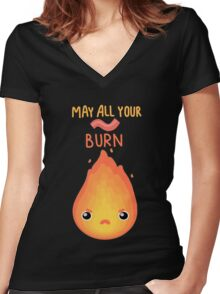 May all your bacon burn. Women's Fitted V-Neck T-Shirt