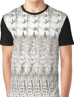 Feather Pattern | Chocolate Brown and White Graphic T-Shirt