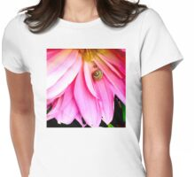 Snail on Vibrant Pink Flower Womens Fitted T-Shirt