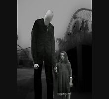 Slender Man with little girl Unisex T-Shirt