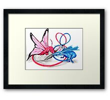 Pink and Blue dragons- Romeo and Juliette Framed Print