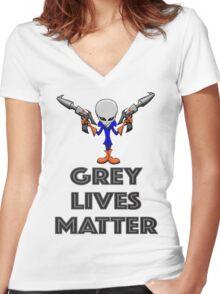 Grey Lives Matter Women's Fitted V-Neck T-Shirt