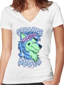STRANGE DUDES- The Werewolf Women's Fitted V-Neck T-Shirt