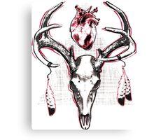 Heavy Heart Deer Antlers Canvas Print