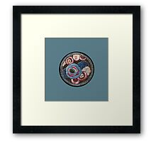 Vintage Embroidery Patch on Blue Framed Print