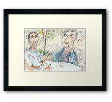 Rajath and James Discussing No-Self at the Rushcutters Bay Tennis Kiosk Framed Print