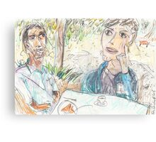 Rajath and James Discussing No-Self at the Rushcutters Bay Tennis Kiosk Canvas Print