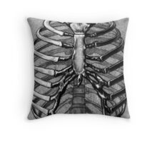 Black and White Skeleton Rib Cage Throw Pillow