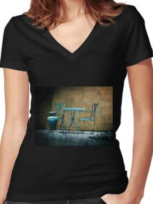 Table & Chairs in Blue Women's Fitted V-Neck T-Shirt