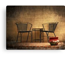 Table and Chairs in Black Canvas Print