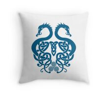 Merged Norse Dragons Throw Pillow